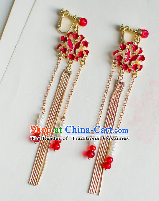 Chinese Ancient Bride Classical Accessories Earrings Wedding Jewelry Hanfu Red Butterfly Tassel Eardrop for Women