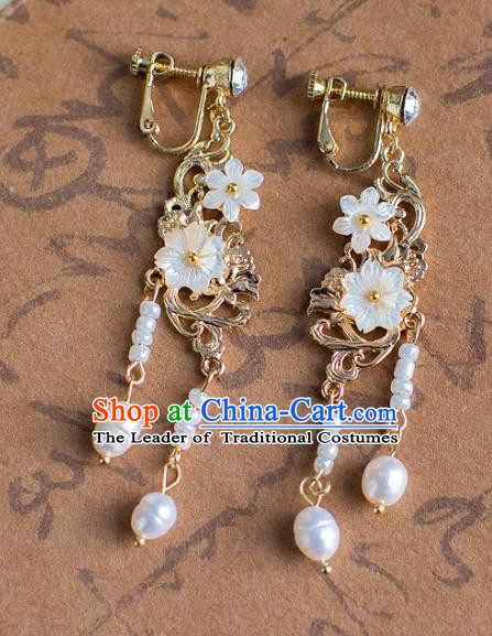 Chinese Ancient Bride Classical Accessories Earrings Wedding Jewelry Hanfu Shell Flower Tassel Eardrop for Women