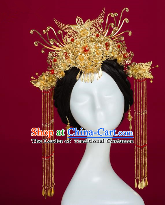 Chinese Traditional Wedding Hair Accessories Ancient Bride Phoenix Coronet Hairpins Headwear for Women