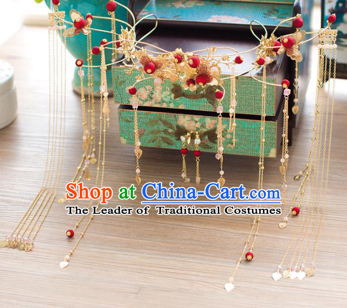 Chinese Traditional Wedding Hair Accessories Ancient Bride Phoenix Coronet Hairpins Step Shake for Women