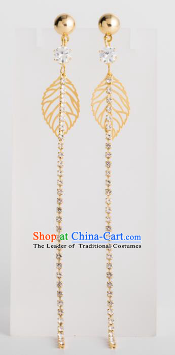 Bride Classical Accessories Earrings Pendant Wedding Golden Leaf Tassel Eardrop for Women