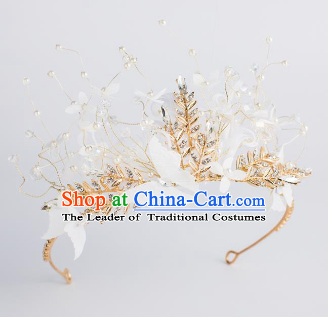 Baroque Bride Hair Accessories Classical Wedding Princess Golden Leaf Imperial Crown Headwear for Women