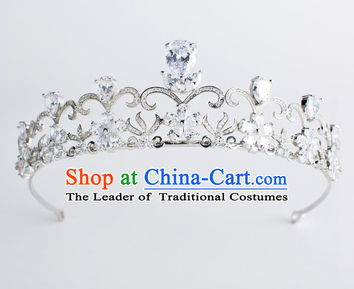 Baroque Bride Hair Accessories Classical Wedding Hair Clasp Zircon Imperial Crown Headwear for Women