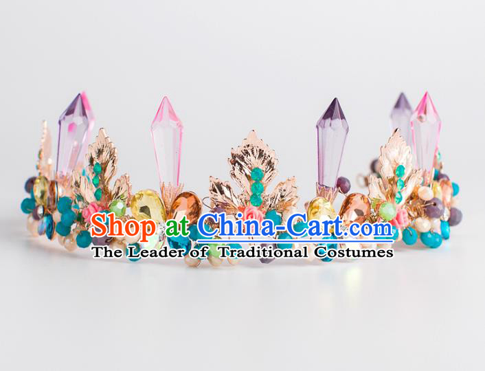 Baroque Bride Hair Accessories Purple Crystal Royal Crown Wedding Princess Classical Imperial Crown for Women
