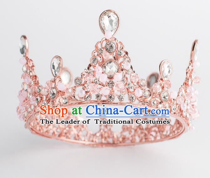 Baroque Bride Hair Accessories Crystal Beads Royal Crown Wedding Princess Classical Imperial Crown for Women