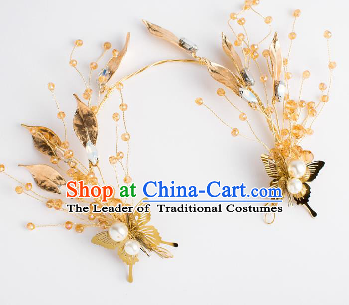 Classical Bride Hair Accessories Wedding Golden Butterfly Hair Clasp Headband Headwear for Women