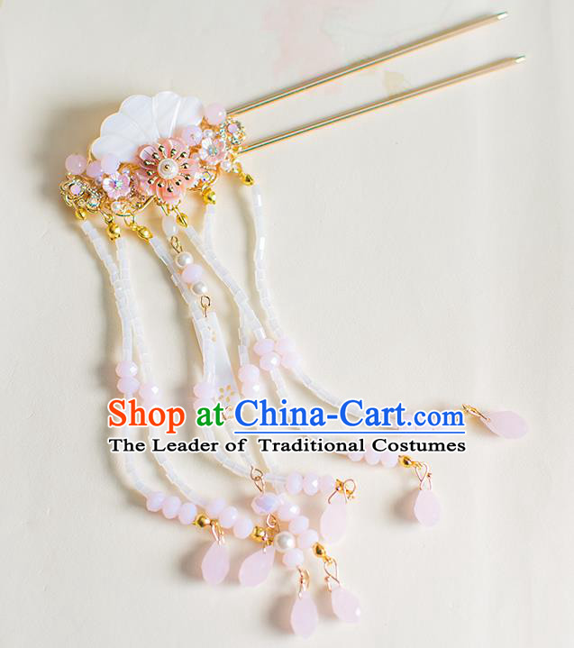 Chinese Traditional Palace Hair Accessories Shell Tassel Step Shake Ancient Xiuhe Suit Hairpins for Women