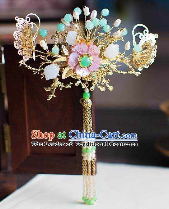 Chinese Traditional Palace Hair Accessories Xiuhe Suit Step Shake Ancient Tassel Hairpins for Women