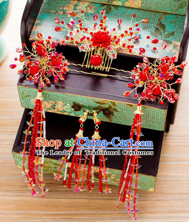 Chinese Traditional Palace Hair Accessories Ancient Xiuhe Suit Red Rose Phoenix Coronet Hairpins for Women