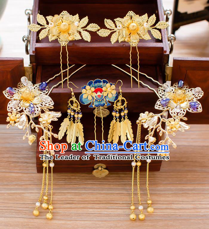 Chinese Traditional Palace Hair Accessories Ancient Hairpins Tassel Step Shake Xiuhe Suit Hair Clips Complete Set for Women