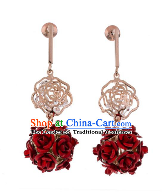 Chinese Ancient Bride Classical Accessories Red Rose Earrings Wedding Jewelry Hanfu Eardrop for Women