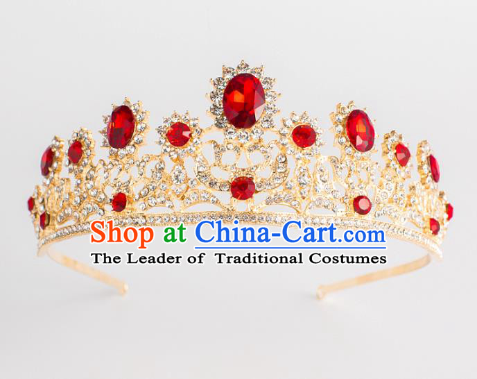 Baroque Bride Classical Hair Accessories Princess Royal Crown Wedding Red Crystal Imperial Crown for Women