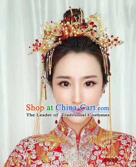 Chinese Traditional Palace Hair Accessories Ancient Xiuhe Suit Hairpins Golden Phoenix Coronet for Women