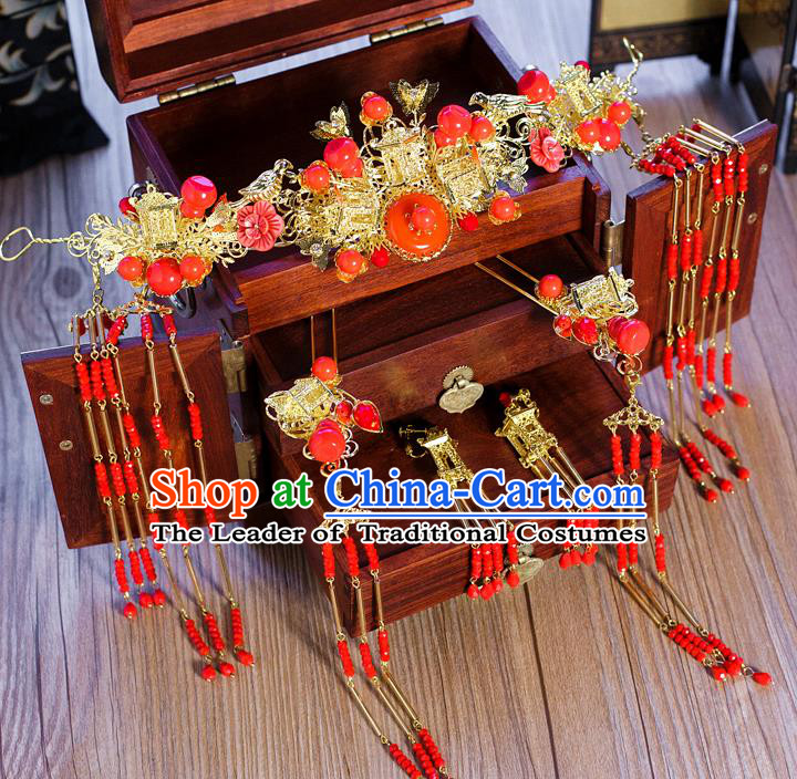 Chinese Traditional Palace Hair Accessories Ancient Hairpins Xiuhe Suit Red Phoenix Coronet for Women