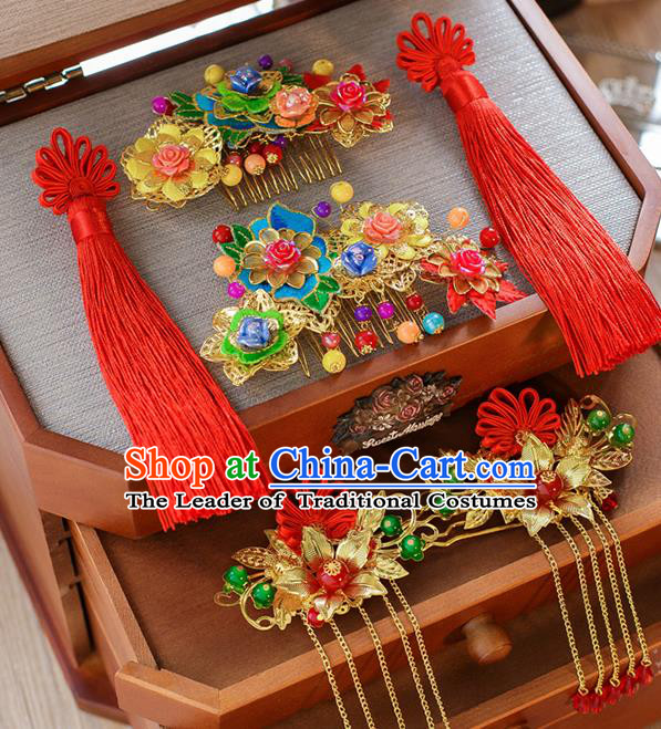 Chinese Traditional Palace Hair Accessories Ancient Hairpins Xiuhe Suit Hair Comb Phoenix Coronet for Women