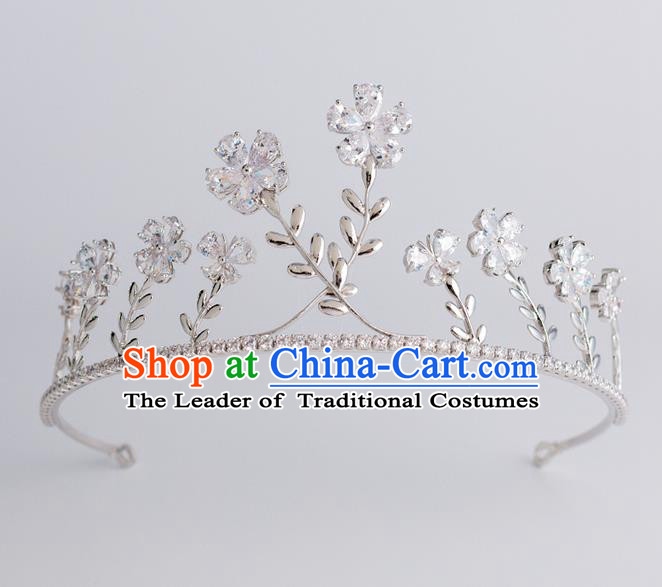 Baroque Princess Royal Crown Bride Classical Hair Accessories Wedding Zircon Flowers Imperial Crown for Women
