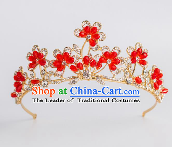 Baroque Princess Red Flowers Royal Crown Bride Classical Hair Accessories Wedding Imperial Crown for Women