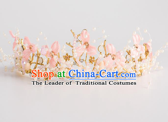 Baroque Princess Pink Flowers Royal Crown Bride Classical Hair Accessories Wedding Imperial Crown for Women