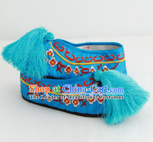 Chinese Traditional Embroidered Shoes Ancient Beijing Opera Blue Blood Stained Shoes for Women