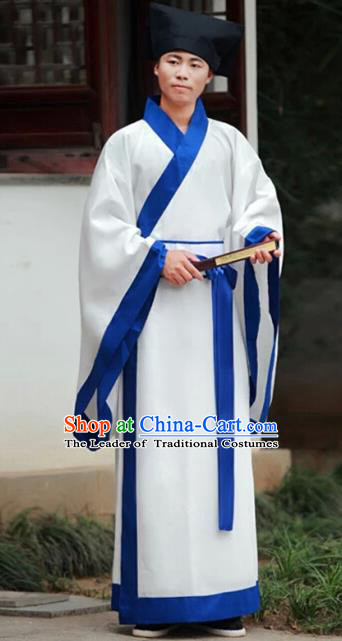 Chinese Han Dynasty Scholar Traditional Hanfu Ancient Swordsman Costume for Men