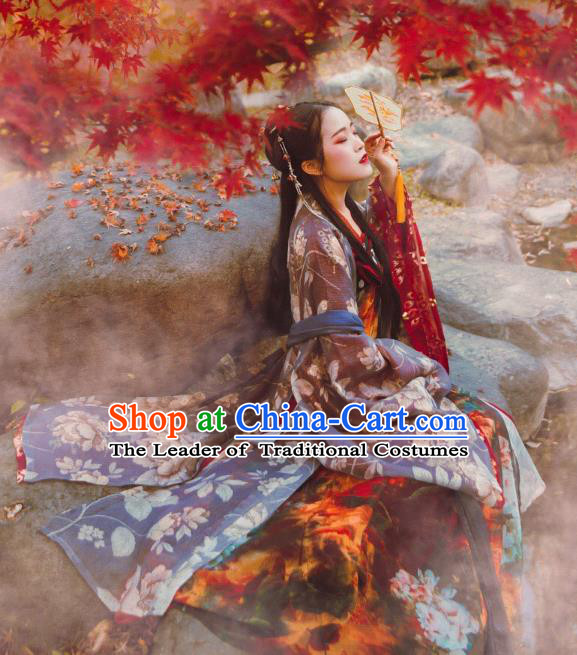 Chinese Traditional Palace Lady Hanfu Dress China Ancient Tang Dynasty Princess Costumes Complete Set