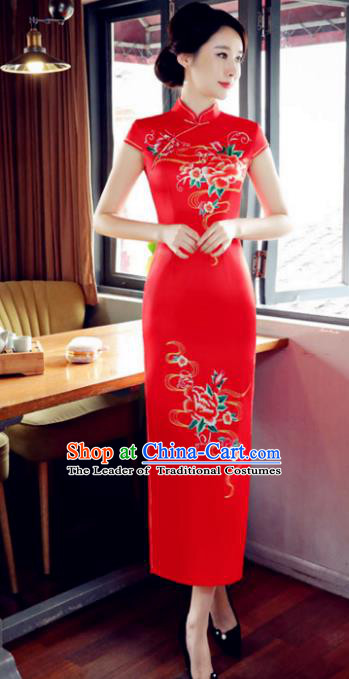 Top Grade Chinese Printing Peony Red Silk Qipao Dress National Costume Traditional Mandarin Cheongsam for Women