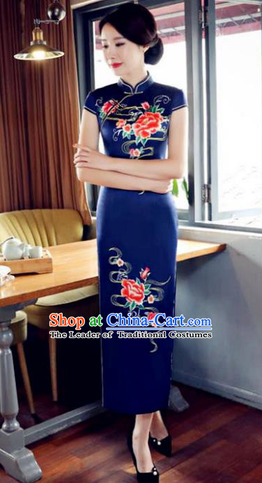 Top Grade Chinese Printing Peony Royalblue Silk Qipao Dress National Costume Traditional Mandarin Cheongsam for Women