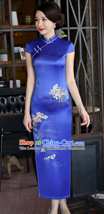 Top Grade Chinese National Costume Printing Royalblue Silk Qipao Dress Traditional Tang Suit Cheongsam for Women
