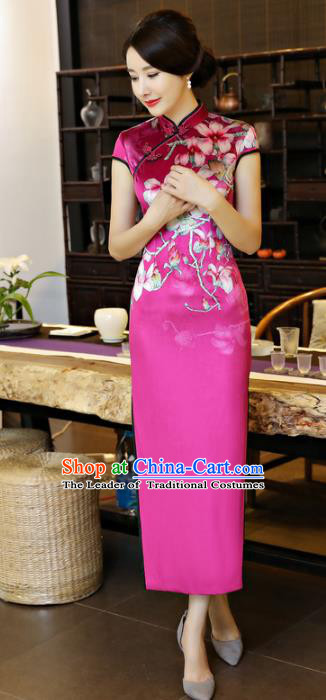 Top Grade Chinese National Costume Printing Peach Blossom Rosy Silk Qipao Dress Traditional Tang Suit Cheongsam for Women