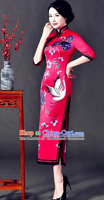 Top Grade Chinese National Costume Printing Crane Red Silk Qipao Dress Traditional Lace Cheongsam for Women