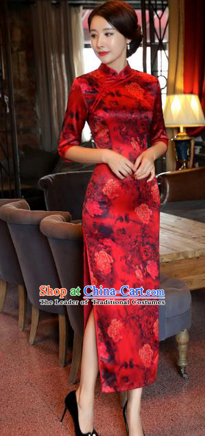 Top Grade Chinese National Costume Red Qipao Dress Traditional Lace Cheongsam for Women