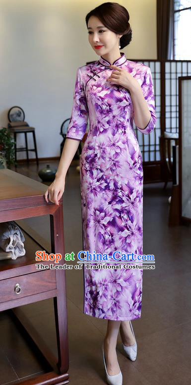 Chinese National Costume Handmade Printing Purple Silk Qipao Dress Traditional Cheongsam for Women