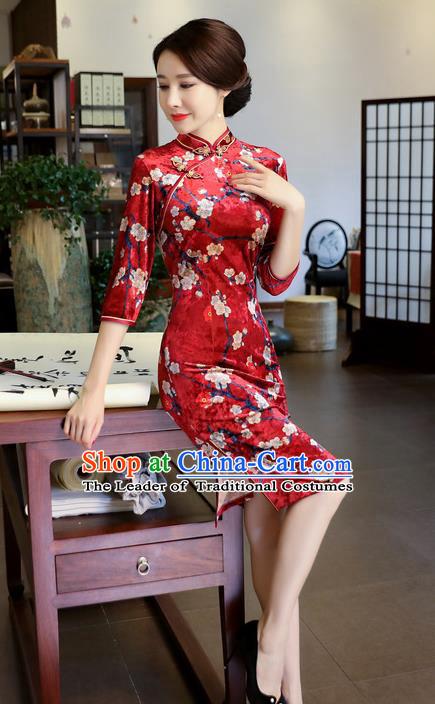 605923deb0b Chinese National Costume Handmade Printing Plum Blossom Red Velvet Qipao Dress  Traditional Cheongsam for Women