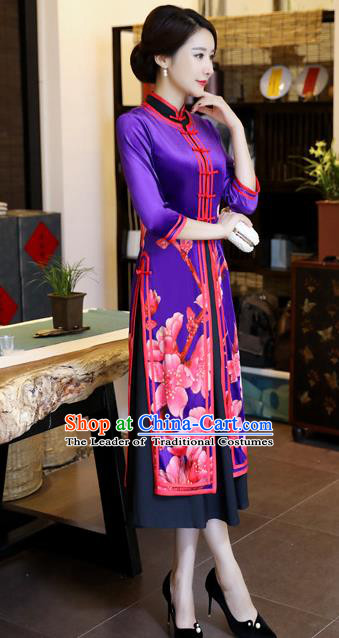 Chinese National Costume Handmade Qipao Dress Traditional Printing Blue Tang Suit Cheongsam for Women