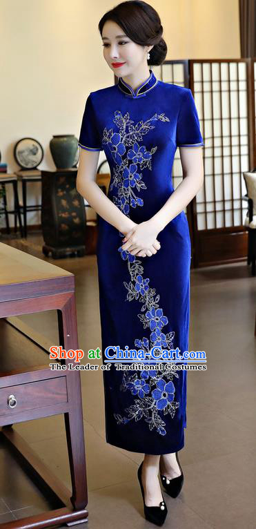 Chinese National Costume Handmade Qipao Dress Traditional Tang Suit Royalblue Velvet Cheongsam for Women