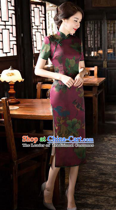 Chinese National Costume Handmade Tang Suit Qipao Dress Traditional Watered Gauze Cheongsam for Women
