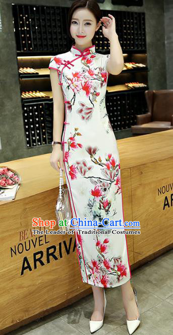 Chinese National Costume Tang Suit Qipao Dress Traditional Printing Mangnolia Cheongsam for Women