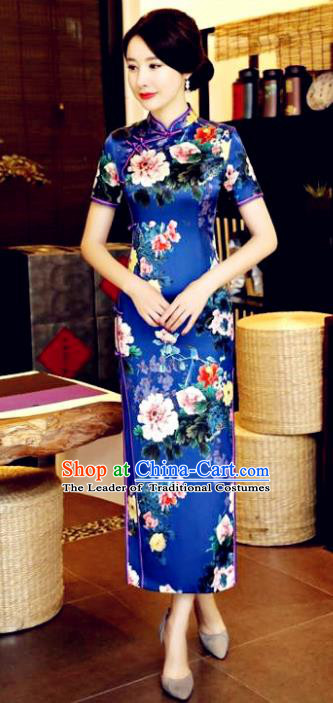 Chinese National Costume Tang Suit Qipao Dress Traditional Printing Flowers Blue Cheongsam for Women