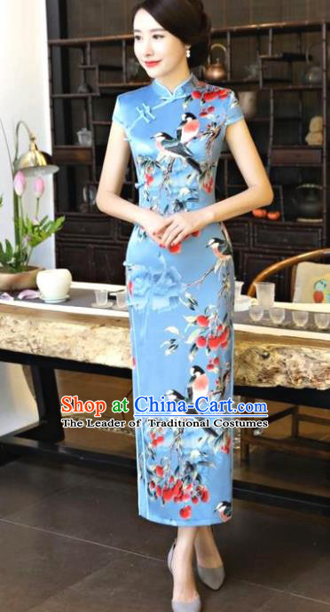 Chinese National Costume Tang Suit Qipao Dress Traditional Printing Birds Blue Cheongsam for Women