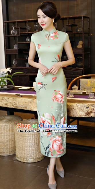 Chinese National Costume Tang Suit Qipao Dress Traditional Printing Rose Green Cheongsam for Women