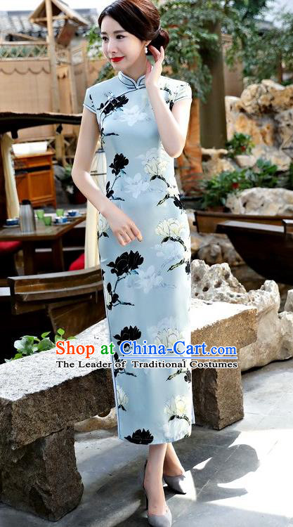 Chinese National Costume Tang Suit Qipao Dress Traditional Printing Mangnolia Blue Cheongsam for Women