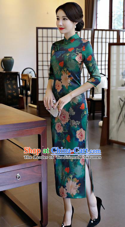 Chinese National Costume Handmade Qipao Dress Traditional Tang Suit Printing Green Watered Gauze Cheongsam for Women