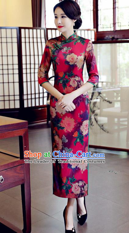 Chinese National Costume Handmade Qipao Dress Traditional Tang Suit Printing Dark Red Watered Gauze Cheongsam for Women