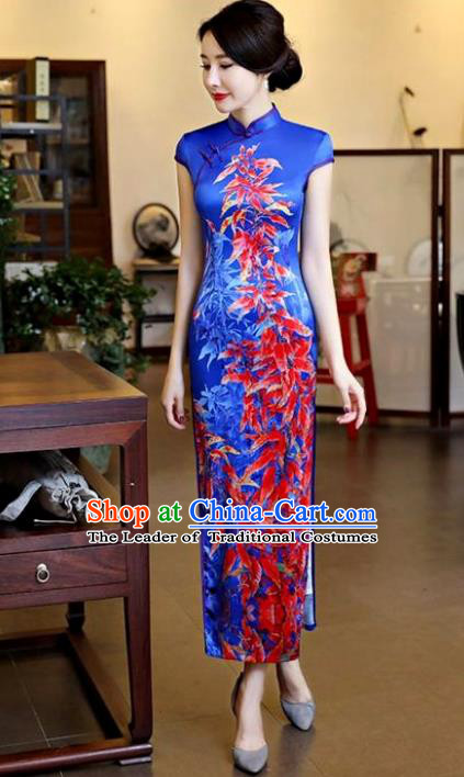 Chinese National Costume Tang Suit Qipao Dress Traditional Printing Maple Leaf Blue Cheongsam for Women