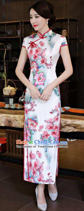 Chinese National Costume Tang Suit Qipao Dress Traditional Printing Peach Blossom Cheongsam for Women