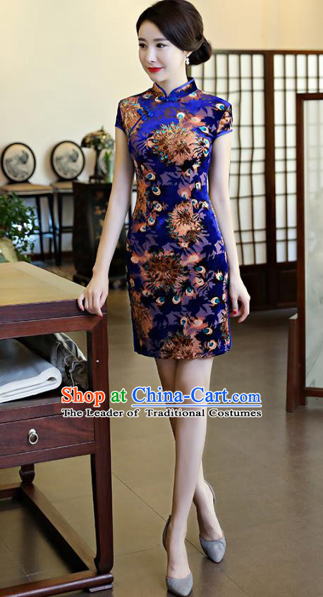 f99c572ce Chinese National Costume Tang Suit Retro Qipao Dress Traditional Printing  Blue Cheongsam for Women