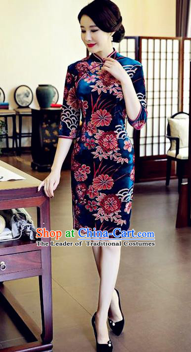 Chinese National Costume Handmade Blue Velvet Qipao Dress Traditional Tang Suit Printing Chrysanthemum Cheongsam for Women