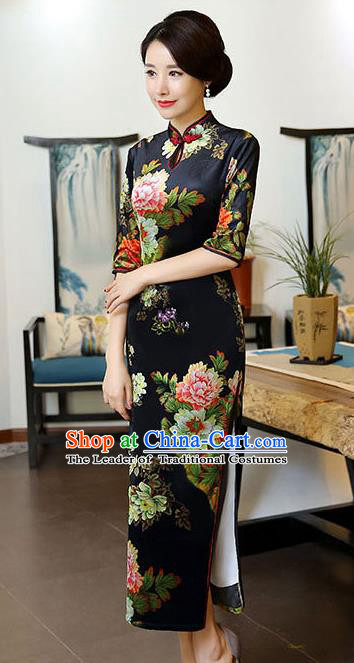 Chinese National Costume Handmade Black Qipao Dress Traditional Tang Suit Printing Silk Cheongsam for Women