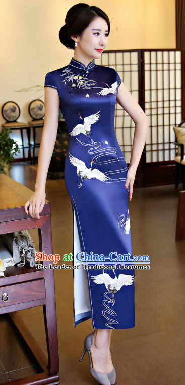 Chinese National Costume Handmade Royalblue Silk Qipao Dress Traditional Tang Suit Printing Crane Cheongsam for Women