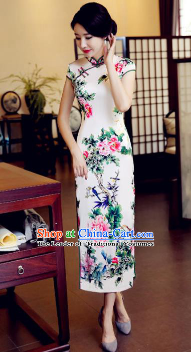 Chinese National Costume Handmade Printing Peony Qipao Dress Traditional Tang Suit White Silk Cheongsam for Women